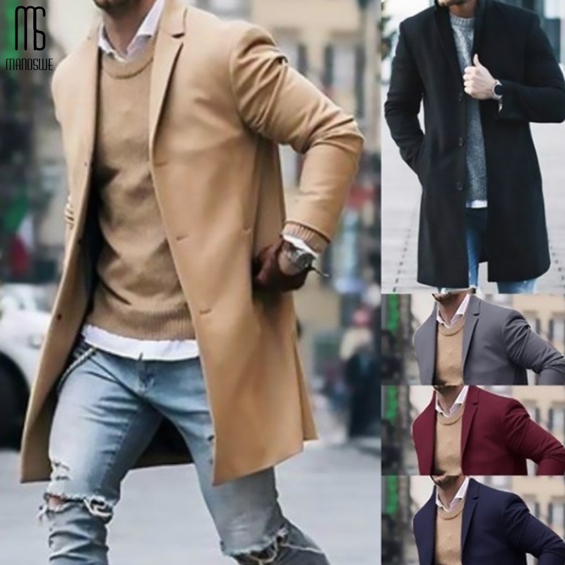 Manoswe Autumn Winter Men's Fashion Business Trench Woolen Coat Slim Solid Color Long Cotton Jacket Male Overcoat Clothing Coat