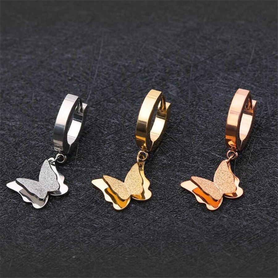 Yiustar Stainless Steel Anting-Anting Kupu-kupu Wanita Anting-Anting Kupu-kupu Klip Pada Anting-Anting Telinga Fashion Perhiasan Lucu Kancing Mujer Moda