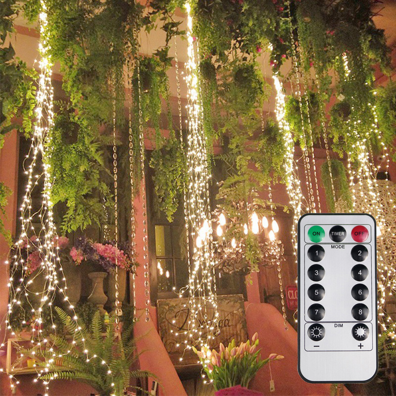 15/30 Multi Strands Vine Lights 300/600LED Twinkle Waterfall Garland Fairy String Light For Home  Wedding Garden Party Christmas
