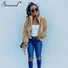 Simenual Casual Solid Teddy Bear Cozy Jackets Women Autumn Winter Warm Fashion O