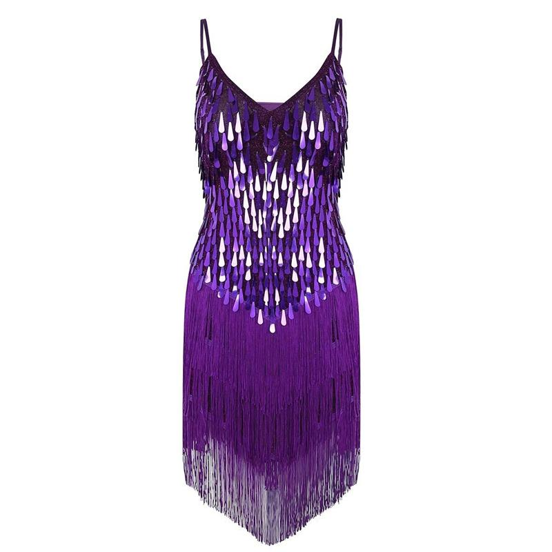 Ladies Latin Dance Costume Dress Flapper Charleston Gatsby Party Fringes Sequin Skirt For Dancing Performance