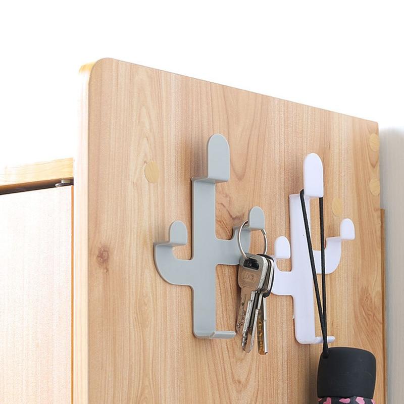 Cactus Shaped Hooks Self Adhesive Clothing Display Racks Key Holder Wall Hook Coat Hanger Cap Room Decor Show Holder(China)