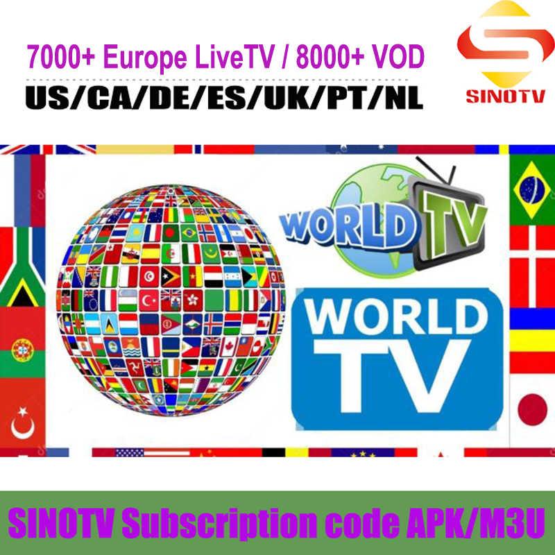 FHD 4K chaînes françaises 1 an SINOTV télévision européenne Portugal néerlandais Latino états-unis canadien royaume-uni espagnol EX-YU indien IPTV abonnement