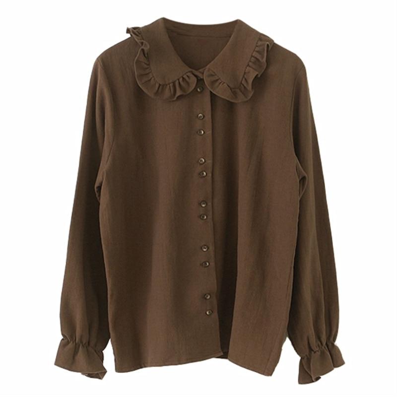 Hot Sales Basic Shirts Blouses Women Shirts Fashion Design Flare Sleeve Peter Pan Collar White Button Shirt Korean Preppy Style