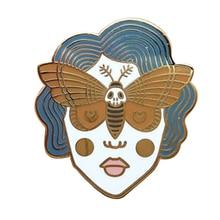 Skull Moth Girl with Crescent Moon details Hard Enamel Pin