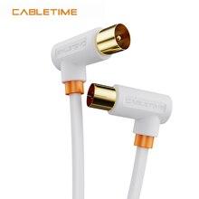 Cabletime cabo de tv de 90 graus de alta definição banhado a ouro linha coaxial m/f cabo de antena de satélite para televisão hd n361