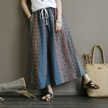 Original Boho Retro lazy wind oversized Joker Elastic Waist  Wide Leg Pants Linen Printed Autumn and Spring Skirt