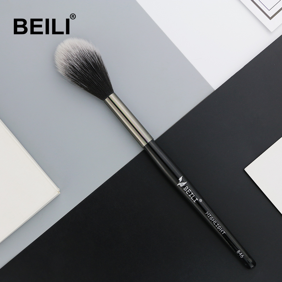 BEILI 1 Piece Synthetic Hair Highlight Blusher Makeup Brush Long Handle Single Makeup Brush 846#