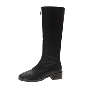 Image 5 - Fashion Novelty Women Knee High Boots PU Low Square Toe Autumn Winter Boots  Solid Zipper Ladies Shoes