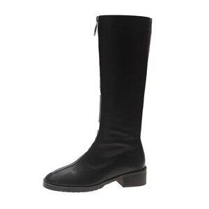 Image 5 - ファッションノベルティ女性ニーハイブーツ PU 低平方つま先秋冬ブーツ固体ジッパー女性の靴