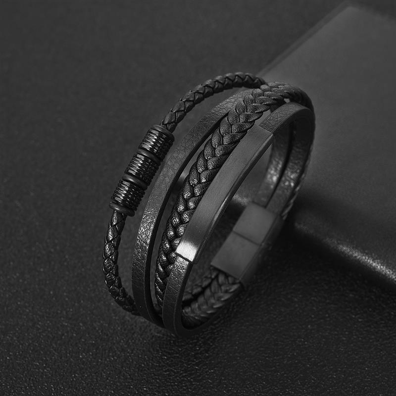 Jiayiqi Charm Leather Bracelet Men Hiphop Jewelry Stainless Steel Magnetic Clasp Mutilayer Male Cuff Wrap Bangle Christmas Gift