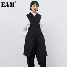 [EAM] Women Black Cross Split Joint Long Asymmetrical Loose Fit Vest New V-collar Sleeveless Fashion Spring Autumn 2021 1B677