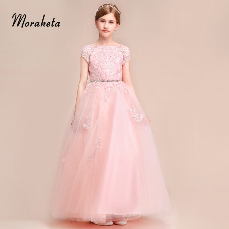 Ball Gown Princess Floor-length Tulle Pink   Flower     Girl     Dresses   For Wedding 2019 Open V-Back Appliques Pageant   Dresses   For Kids