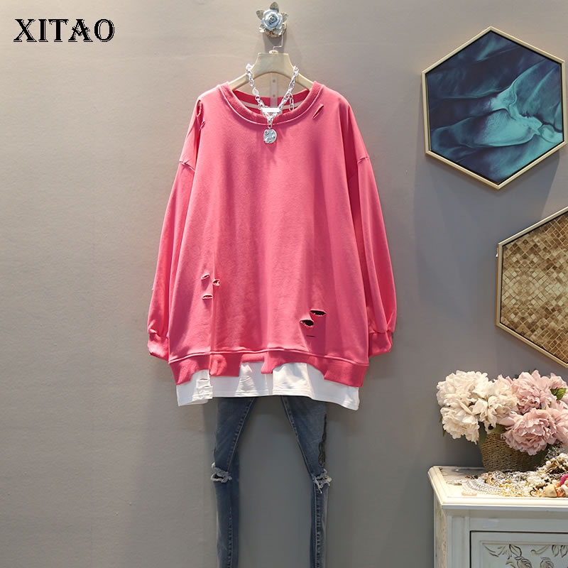 XITAO Tide Patchwork Sweatshirt False Two Pieces Women Clothes 2020 Spring New Pullover Full Sleeve Hole Plus Size Top DMY2817