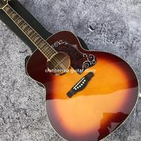 TOP QUALITY,43 inches 6 strings acoustic guitar,sunburst and brown color body,electric guitar,crown inlay,free shipping