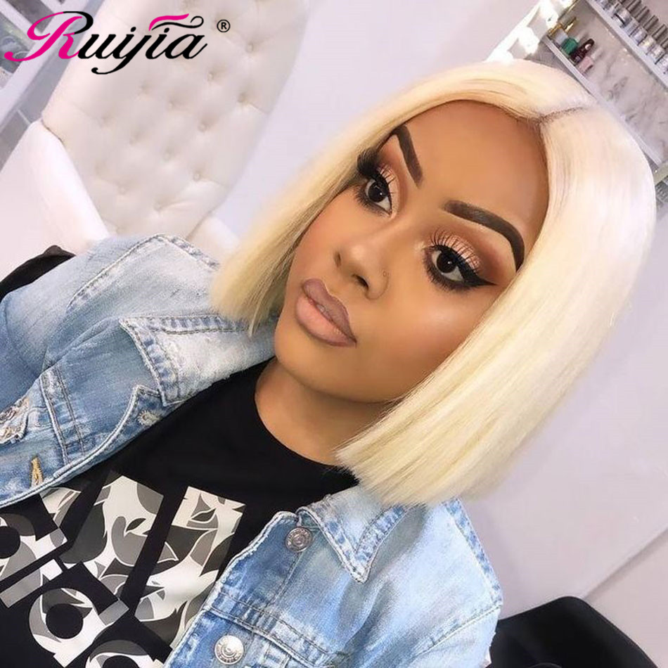 Short Hair Blonde Bob Wig Remy Human Hair Wigs for Women Straight Closure Wig 10 inch Peruvian Women's Wigs 613 Lace Closure Wig image