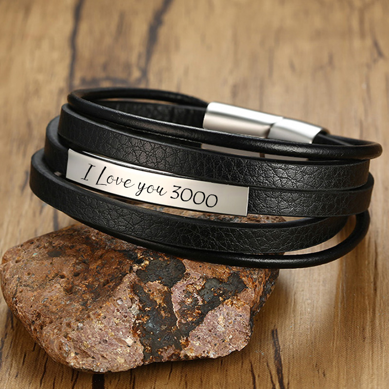 Vnox Customized Layered Leather Bracelets For Men Stainless Steel ID Bangle Personalized Casual Gents Wristband Gift For Him