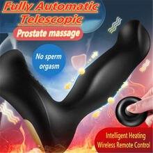 Controle remoto sem fio telescópico vibrador anal masculino massageador de próstata vibratório butt plug adulto brinquedo do sexo para vibradores masculinos