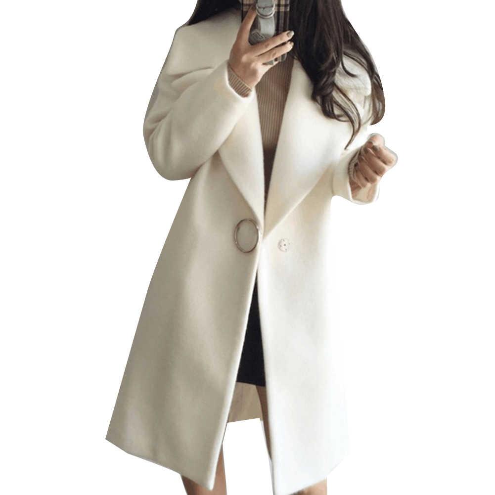 فضفاض الصوف الدافئة يمزج معطف الشتاء طويلة بدوره إلى أسفل طوق معطف صوف قابل للتعديل النساء مكتب العمل ارتداء أنيقة manteau فام