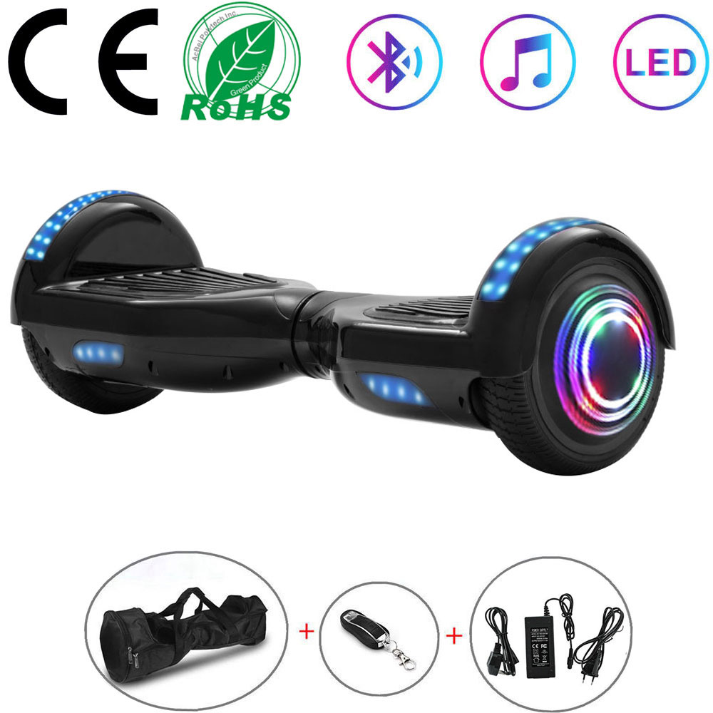 Hoverboard 6.5 Inch Electric Scooter Black Smart Self balancing Scooter 2 Wheels Lights Balance Skateboard LED+Remote Key+Bag|Self Balance Scooters| |  - title=
