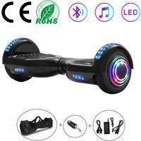 Hoverboard 6 5 Zoll Elektrische Roller Schwarz Smart Selbst ausgleich Roller 2 Räder Lichter Balance Skateboard LED + Remote Key + tasche