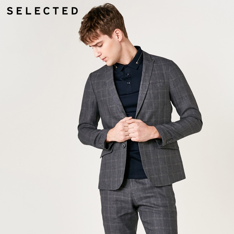 SELECTED Men's Regular Slim-Fit Blazer 100% Linen Business Casual Plaid Jacket S|419272509