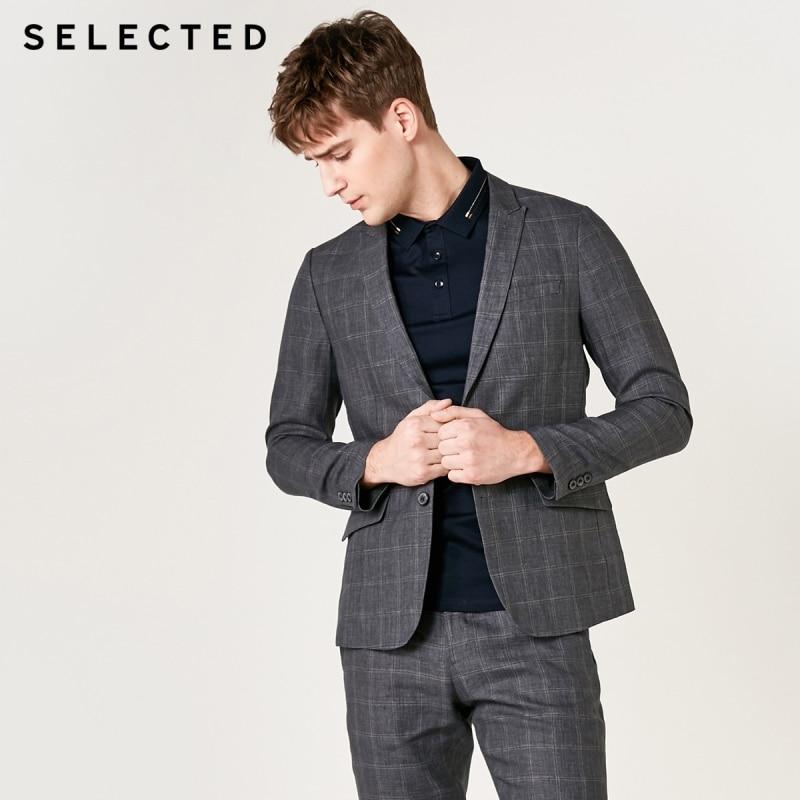 SELECTED Men's Regular Slim-Fit Blazer 100% Linen Business Casual Plaid Jacket S 419272509