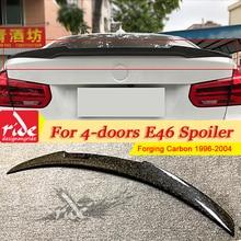 For BMW E46 4 Door Sedan Tail Spoiler Wing Forging Carbon Fiber M4 Style 3 Series 318i 320i 325i Rear Trunk Spoiler Wing 1996-04