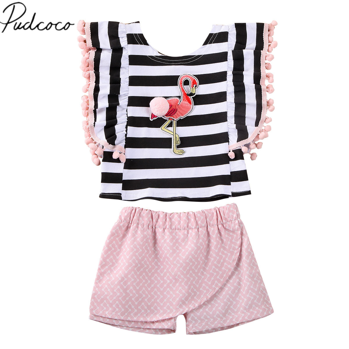 Toddler Baby Girls Off Shoulder Striped Rainbow Print Dress Clothes