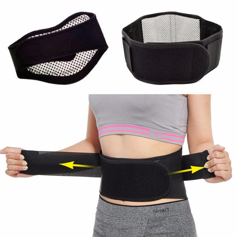 Beauty Double Banded Adjustable Tourmaline Self-heating Magnetic Therapy Toiletry Kits Lumbar Support Back Waist Brace