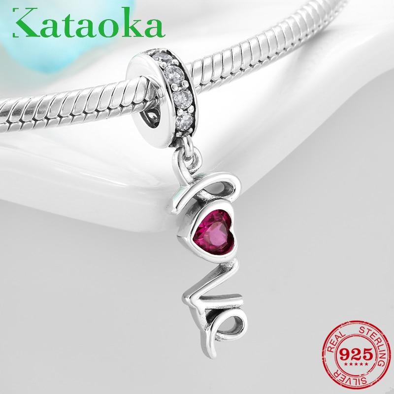 925 Sterling Silver letter Beads L O V E Pink CZ Charms Pendant Fit Original Pandora Charms Bracelet Bangles DIY Jewelry making(China)