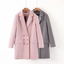 ZA autumn winter Women's suit woolen jacket casual vintage chic coat female double-breasted blazer outerwear woman(China)
