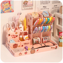 Lnclined Pen Holder Creative Multifunctional Children's Female Pen Holder Desk Large Capacity Stationery Storage Box For Pupils