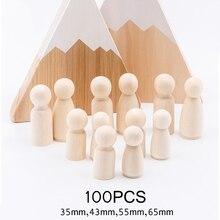 100pc (35mm,43mm,55mm,65mm) muñecas de clavija de madera hechas a mano DIY de madera en blanco decoración del hogar muñeco para niño y niña Mini muñecas de madera sin terminar