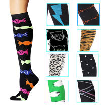 20 Pairs/lot Men Women Compression Socks Multi Pattern Geometry Pressure Compress Nylon Sport Stockings Male Female