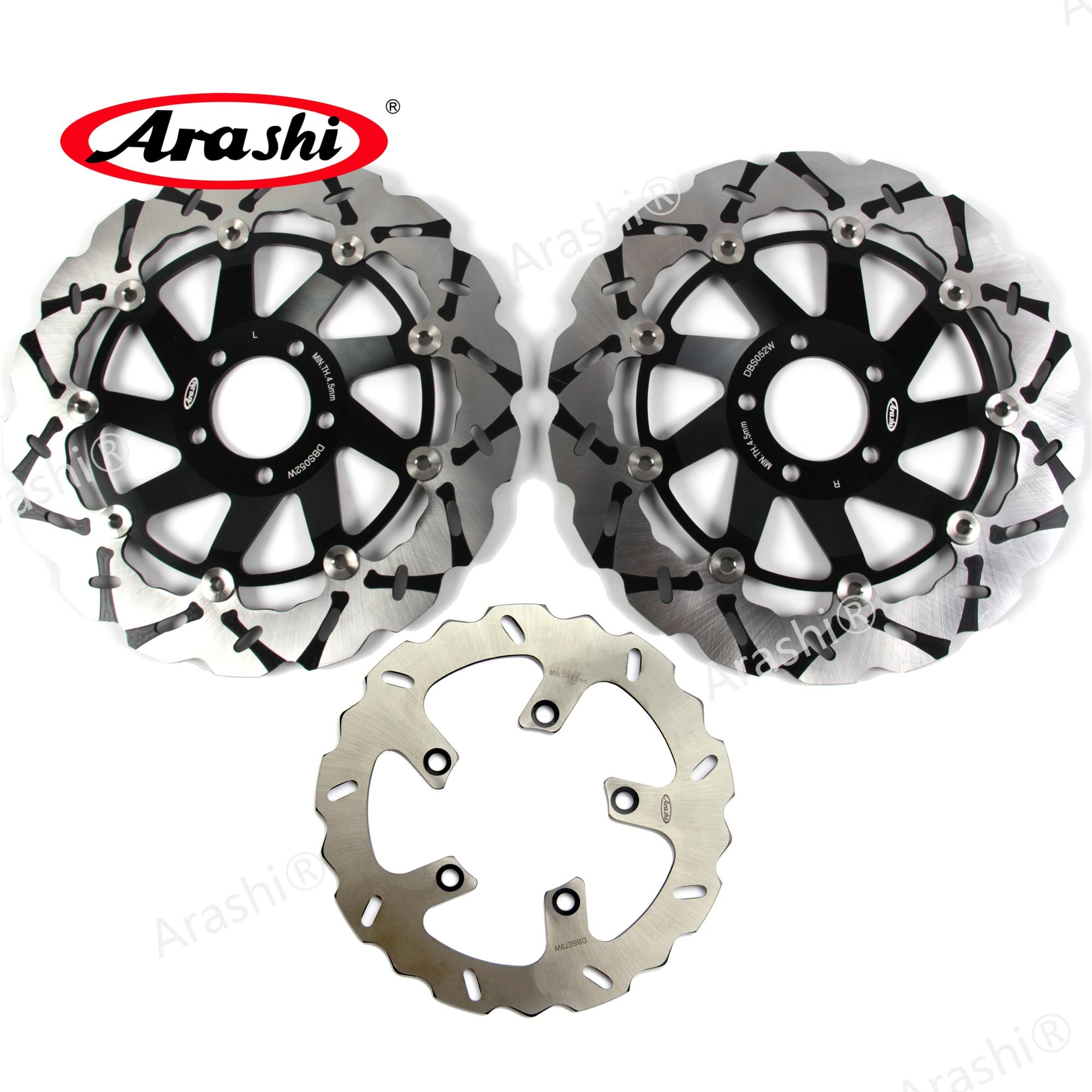 Arashi Front Rear Brake Disc Rotors for KAWASAKI ZRX1200 ZRX1200R ZRX1200S 2001-2006 Motorcycle Replacement Accessories ZRX 1200 R S 2002 2003 2004 2005 Black ZRX1100