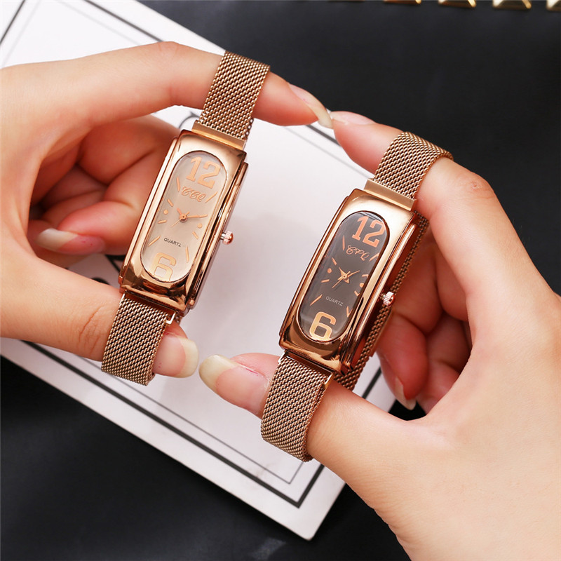 Luxury Women Watch Mesh Magnetic Buckle Rose Gold Diamond Square Small Dial Ladies Casual Fashion Dress Gift Clock reloj mujer