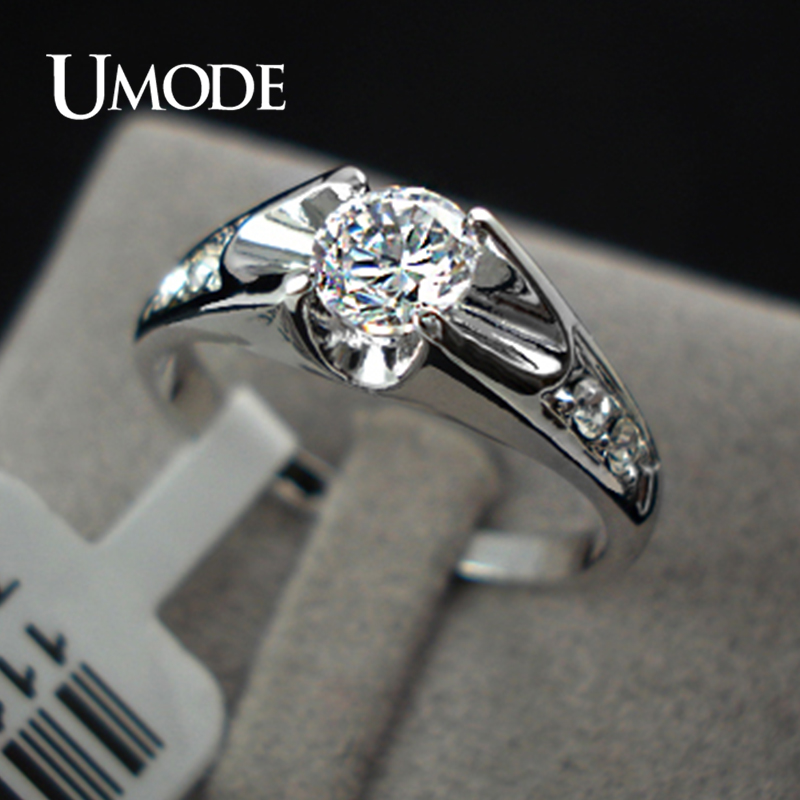 Купить с кэшбэком UMODE Fashion Rose Gold Color Wedding Rings for Women Engagement Ring With Top Grade AAA CZ Crystal Lovely Bague Femme AJR0064
