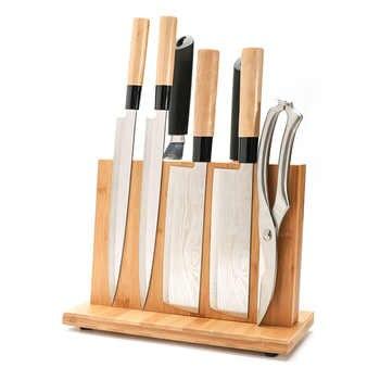 Magnetische Messer Halter mit Starker Magnet-Große Bambus Holz Messer Block ohne Messer, Doppel Seite Universal Messer Block