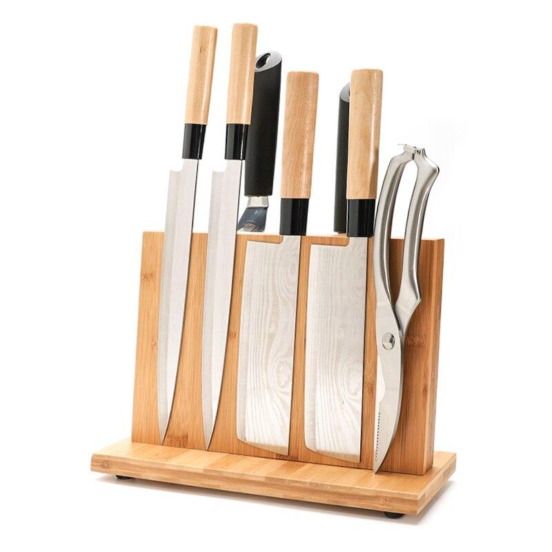 Manyetik bıçak tutucu güçlü mıknatıs ile büyük bambu ahşap bıçak bloğu olmadan, çift taraflı evrensel bıçak bloğu