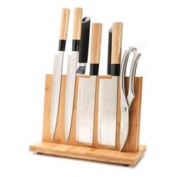 Soporte magnético para cuchillos con imán potente-bloque grande de cuchillos de madera de bambú sin cuchillos, bloque Universal de cuchillos de doble cara