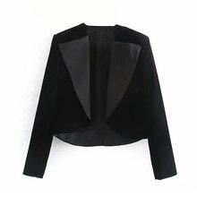 Elegant patchwork velvet Blazers coat office lady wear lapel long sleeve outwear