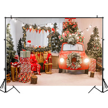 NeoBack Christmas Backdrop Gifts Toy Red car  Indoor Photography Backdrops Newborn Baby Kids Background Photography washable cotton polyester blue grey wood photography background christmas baby kids photos backdrop xt 5899