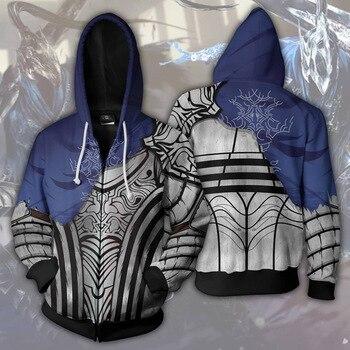 цена на Game Demon Souls Dark Souls Cosplay Costumes Dark Souls Mens Hoodies 3D Print Hoodie Animation Zipper Hoodies Jackets 2019