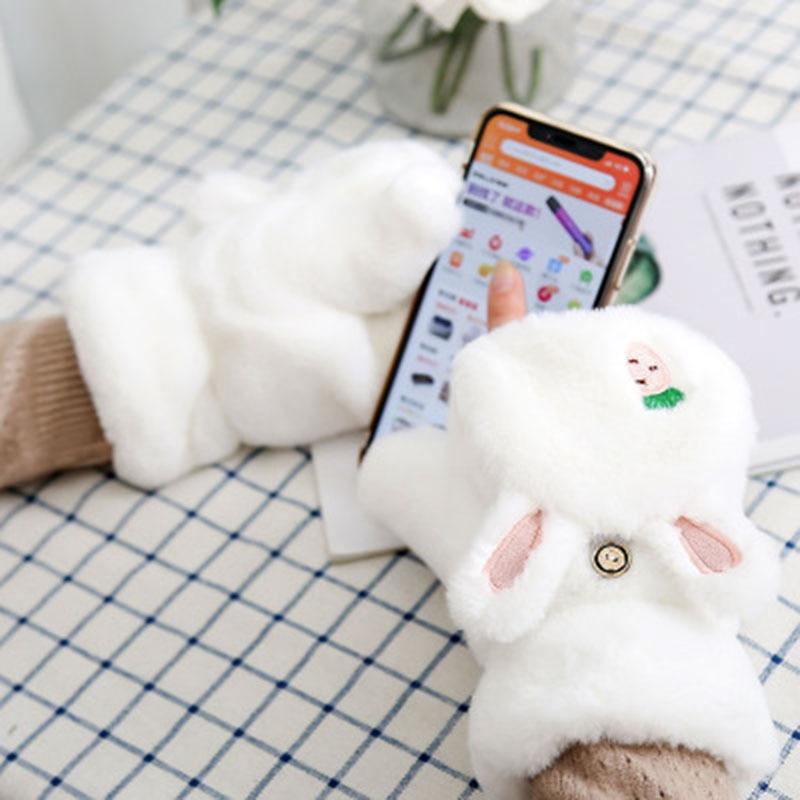 Women Cute Cartoon Bear Panda Half Finger Flap Wool Knit Mitten Winter Female Thicken Plush Cashmere Warm Touch Screen Glove E24