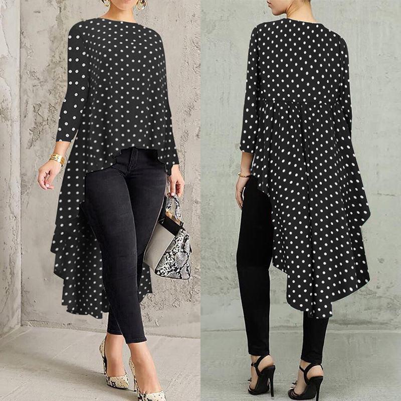 ZANZEA Women Long Batwing Sleeve Polka Dot Shirt Dress Oversize Midi Dress Plus