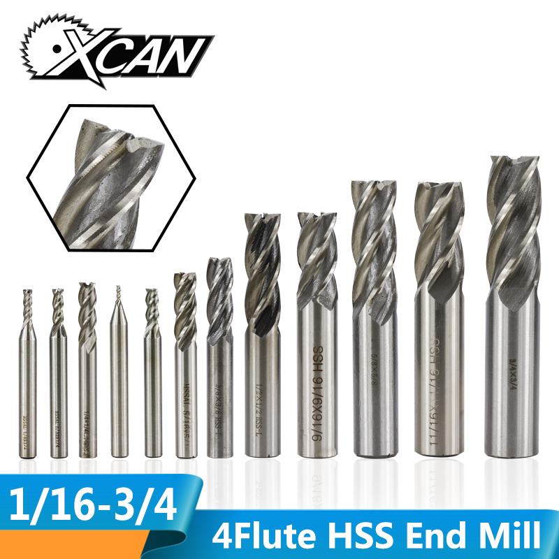 XCAN 1pc 1/16-3/4 Imperial Standard High Speed Steel End Milling Cutter 4Flute CNC Milling Bit Spiral End Mill