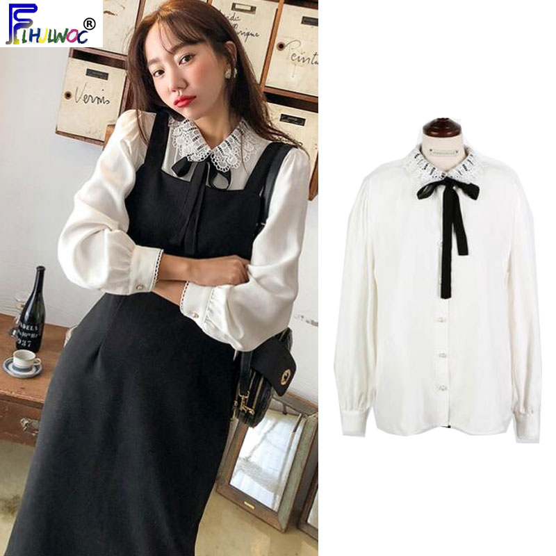 Autumn Fall Design Basic Shirts Blouses Women Long Sleeve Korea Preppy Style Button Shirt Bow Tie Ribbon Top White 8826
