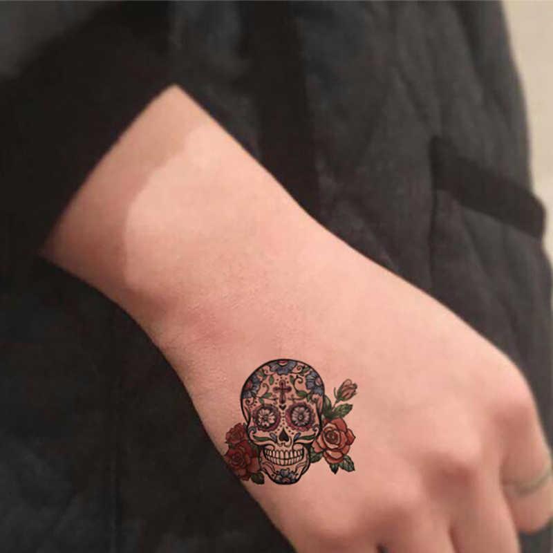 جديد الإنسان skeletonTemporary الوشم ملصق هالوين صغيرة الجمجمة نمط تصميم النساء الرجال مثير اليد الوجه وهمية Taty