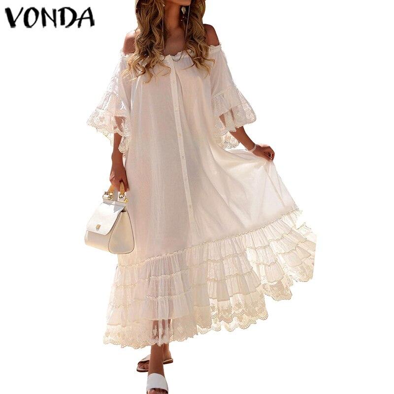 White Dress Women Sexy Off Shoulder Lace Party Maxi Long Dress 2019 VONDA Flare Sleeve Vestido Plus Size Beach Summer Sundress